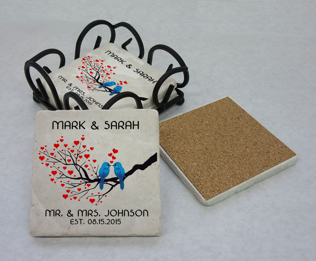 Personalized Tumbled Stone Mr and Mrs Coaster Set (4), Wedding Gift ...