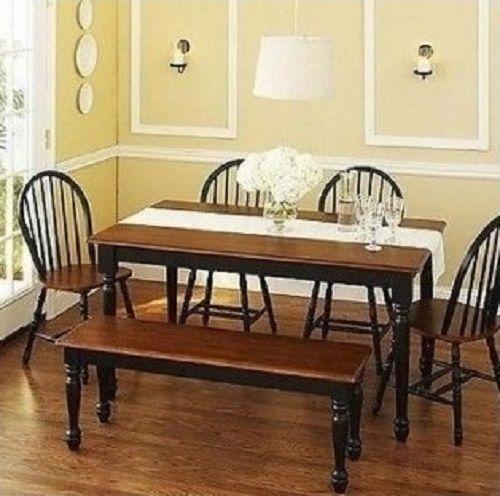 dining room set kitchen breakfast nook black oak dinette table bench