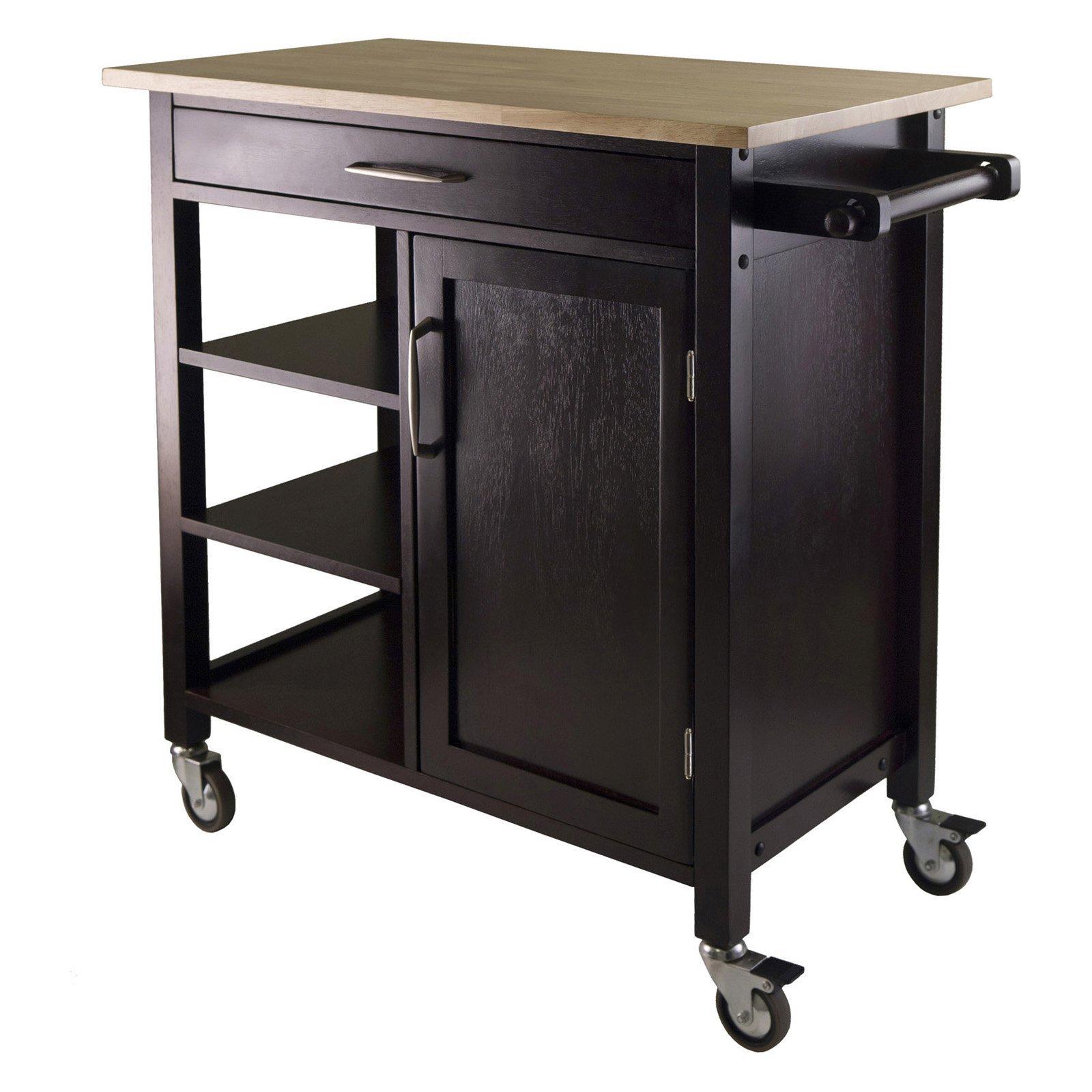 kitchen cart island utility food prep storage wooden furniture shelves