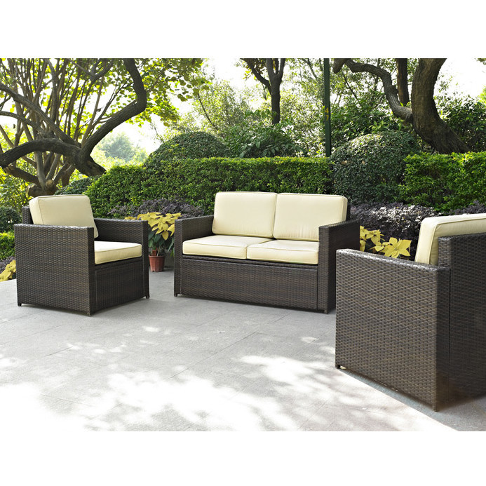 wicker patio set 3 piece deep seating outdoor conversation furniture