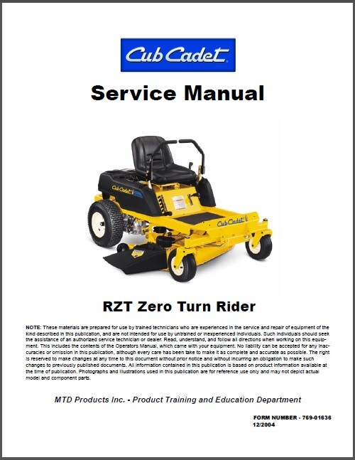 Cub cadet riding mower owner manual
