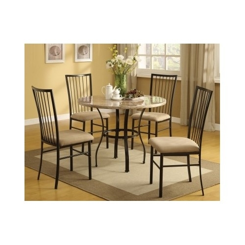 Piece Dining Set 4Upholstered Chairs Dinette Furniture Round Table