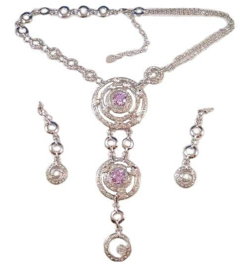 Circle Drop Necklace Earring Set Pink Clear Crystal 3 Tier Big Bold Sparkler