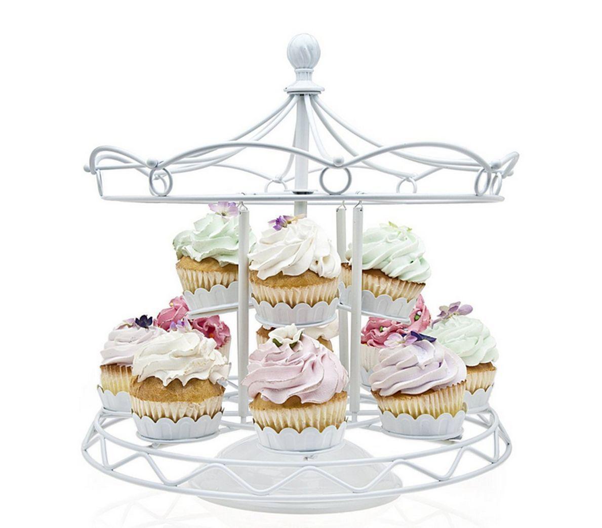 White Metal Cupcake Stand Homeford Round Eyelet Metal