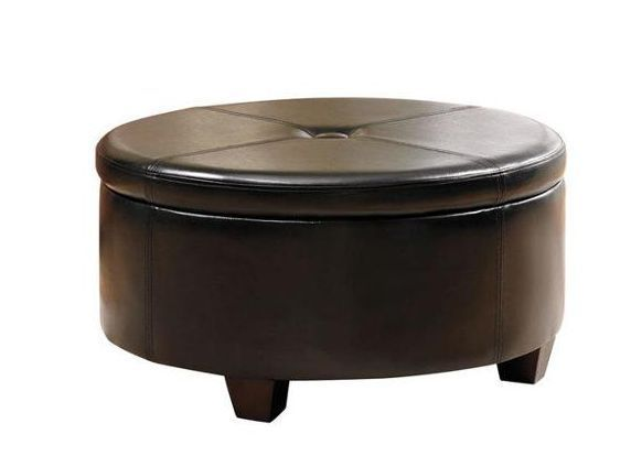 Large black round storage ottoman faux leather tufted fabric coffee table seat ottomans Round leather ottoman coffee table