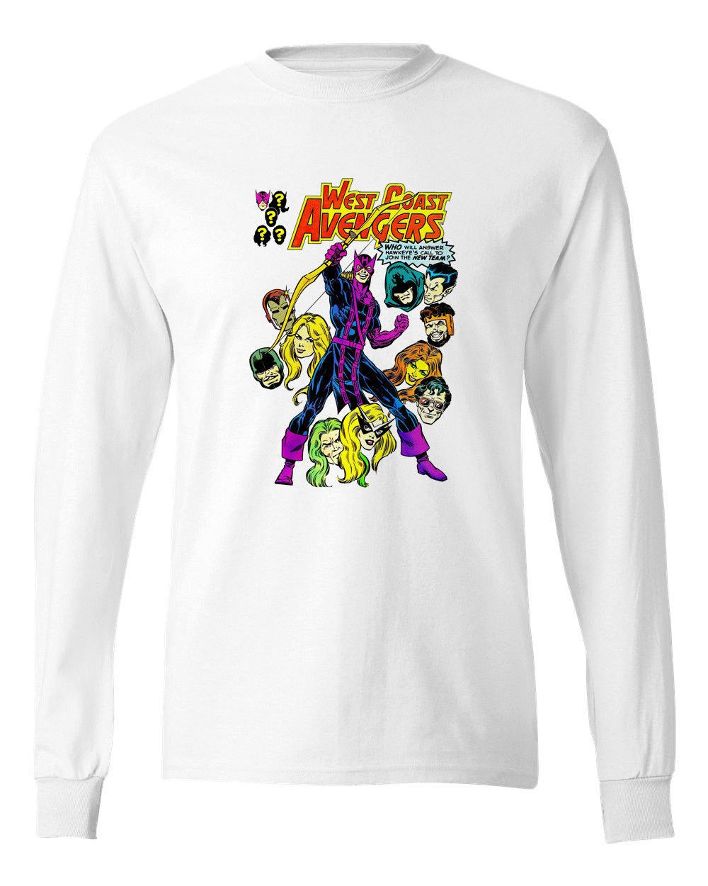West coast avengers long sleeve t shirt vintage marvel for Retro long sleeve t shirts