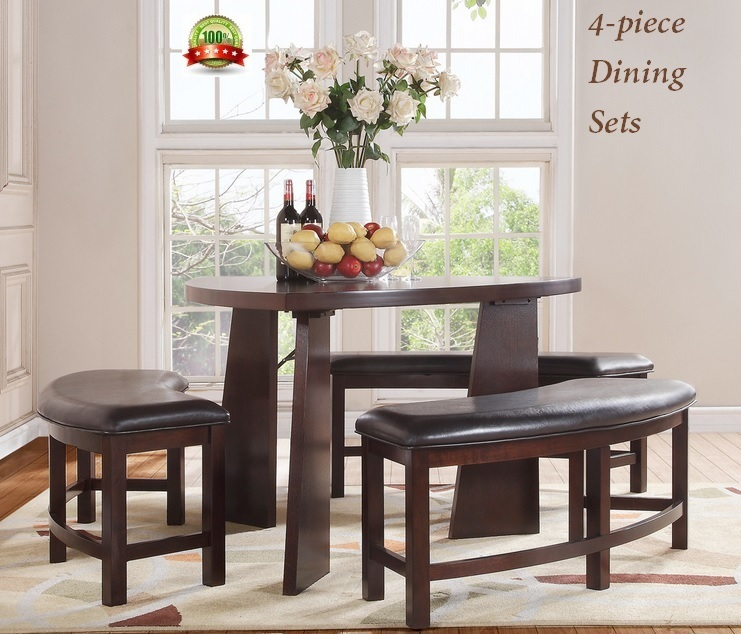 Dining set furniture triangle shaped semicircle bench couch table