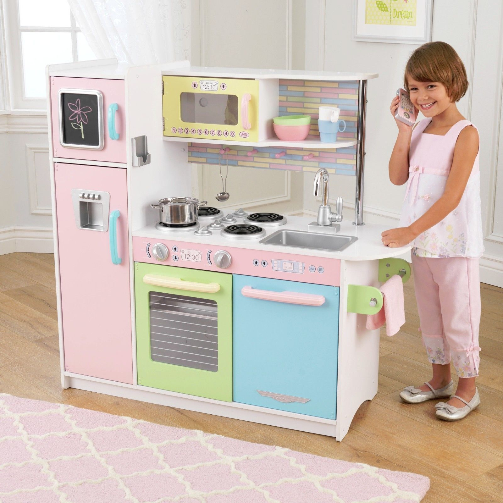 Kidkraft Large Pastel Kitchen Playset Wooden Kid Toddler Pretend Play