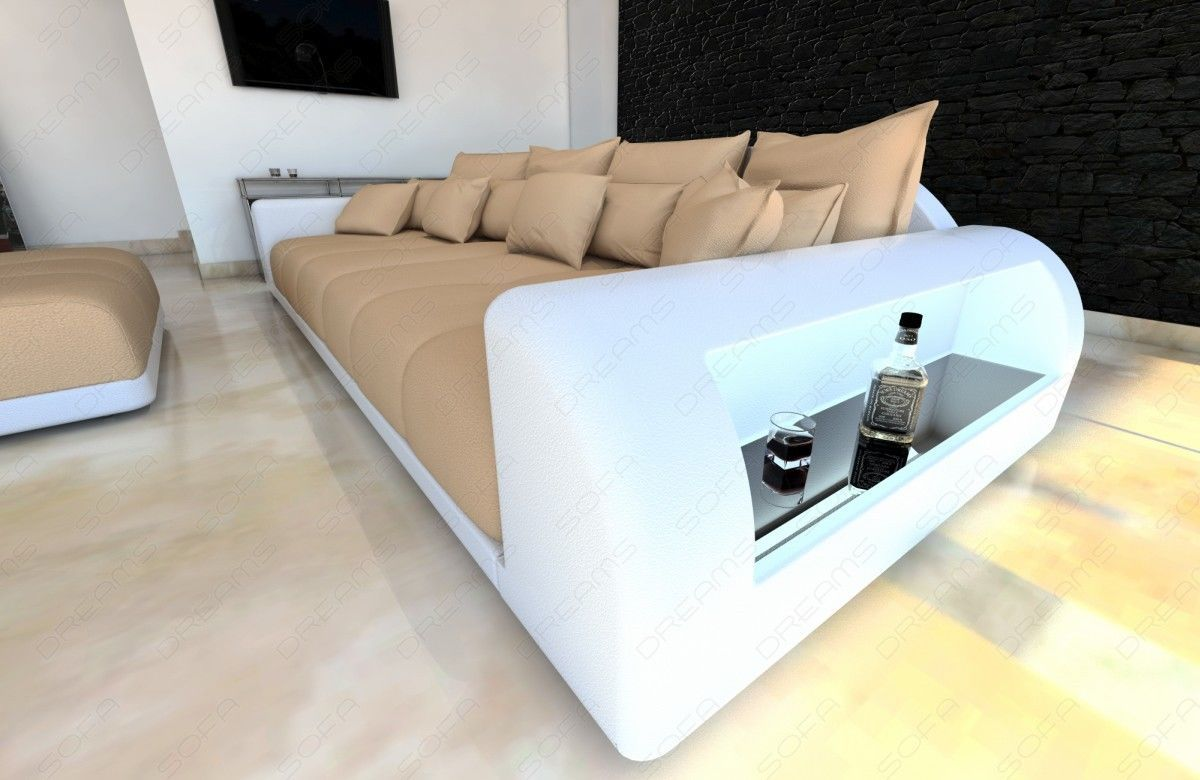 Xxl big sectional sofa bed miami with led lights rgb for Sectional sofa with led lights