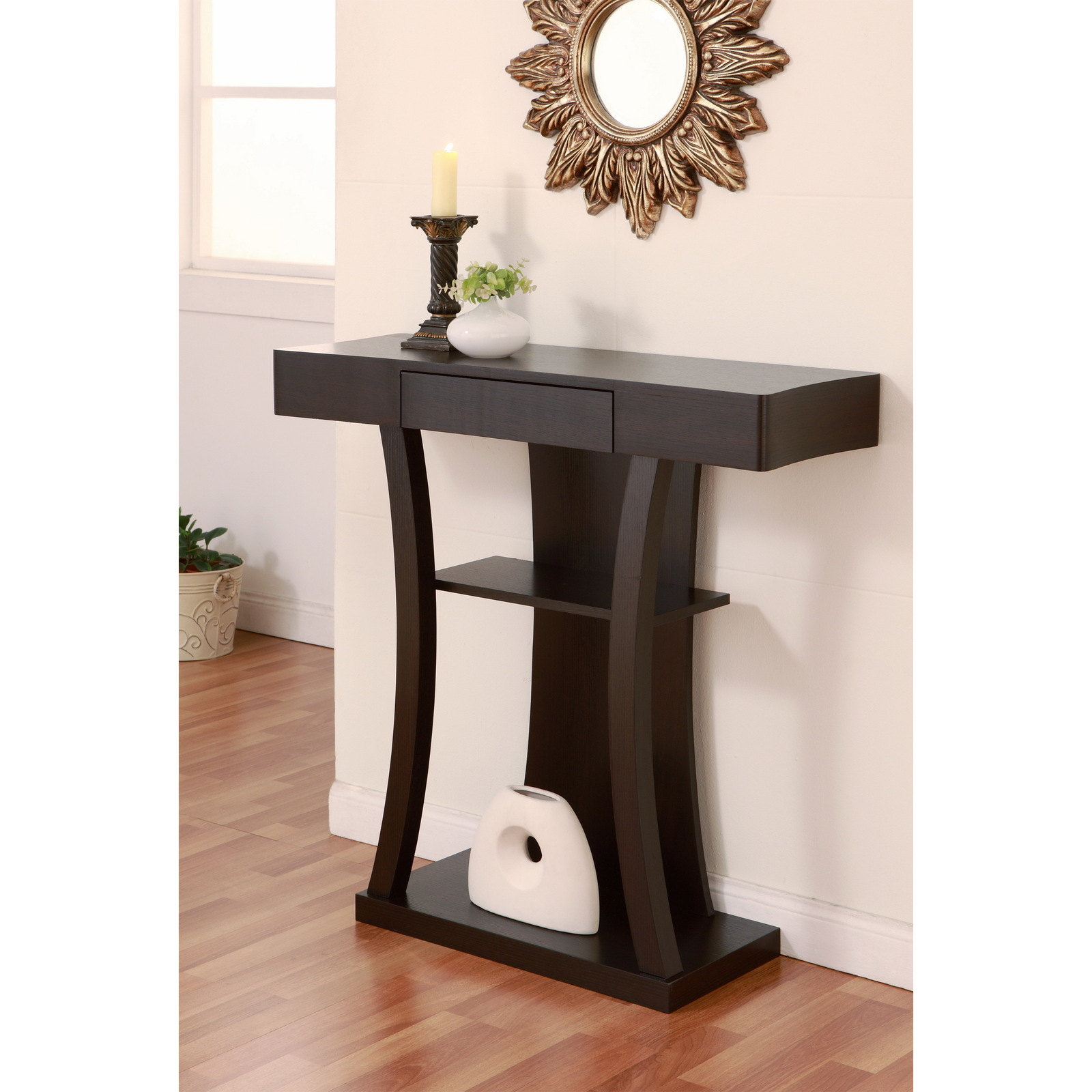 cappuccino finish console table for living room dining room or hall tables. Black Bedroom Furniture Sets. Home Design Ideas