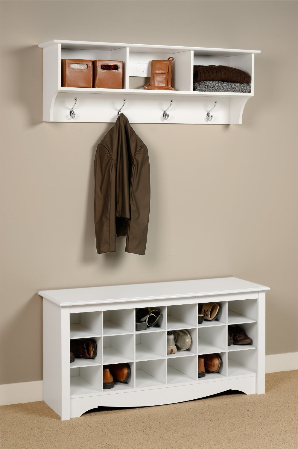Storage For Foyer : Wood entryway shoe storage organizer bench hallway bedroom