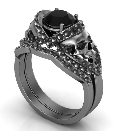 skull wedding rings skull engagement ring set with black silver 7542