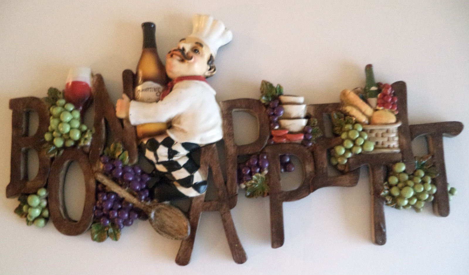 New Bon Appetit Wall Plaque Wine Bottles Grapes Wall Art Cafe Kitchen Decor 3d Plaques Signs