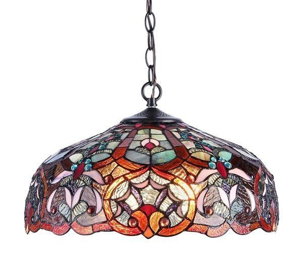 SADIE Tiffany Style Victorian 2 Light Ceiling Pendant Fixture 18