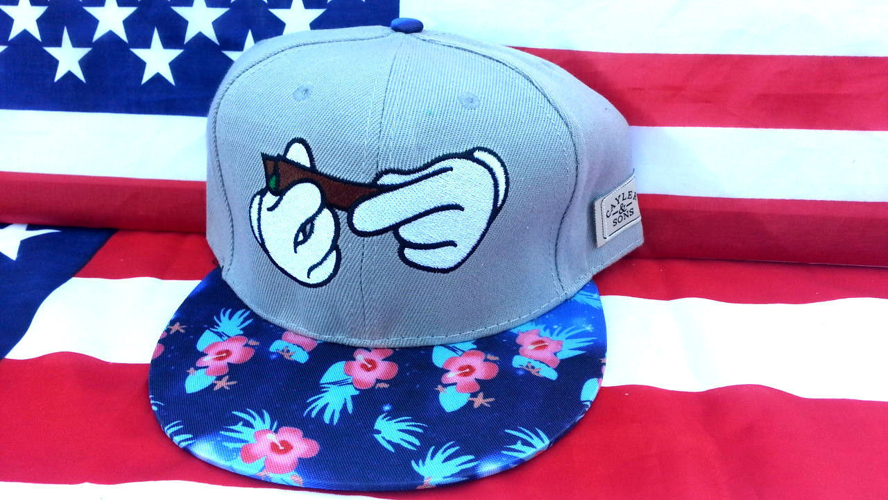 Grey Rolling Dope Snapback Hat with Flowers