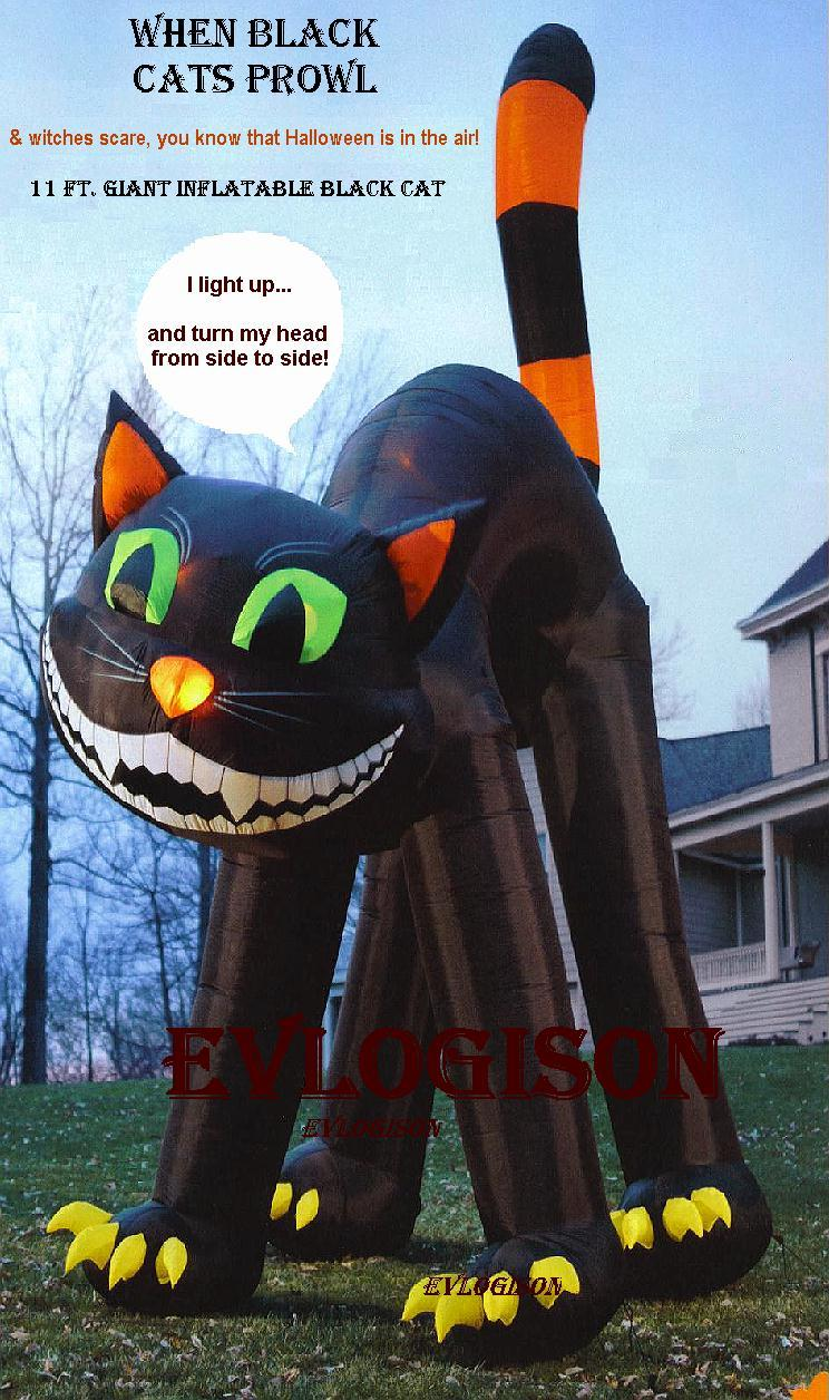 11 ft animated lighted inflatable black cat halloween for Animated halloween decoration
