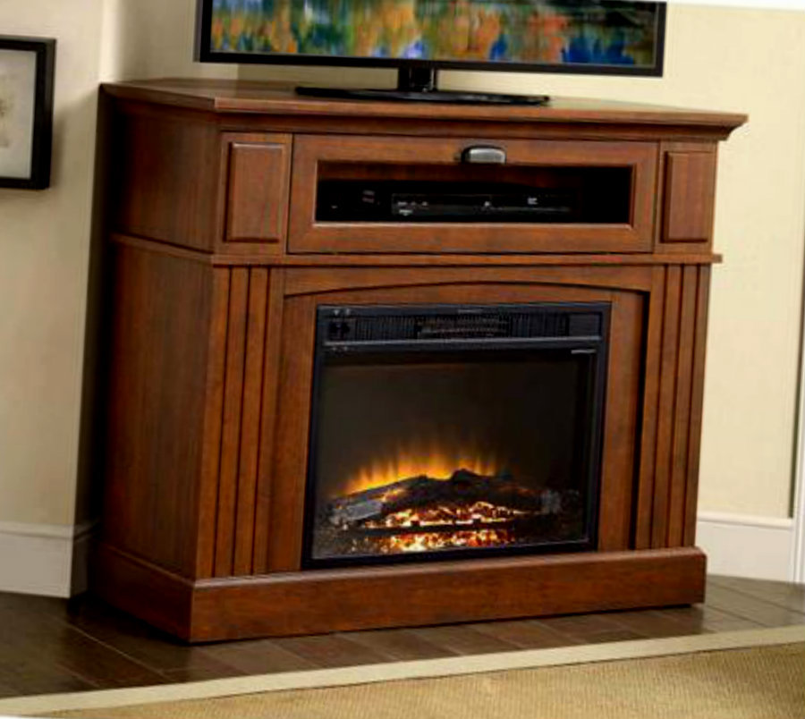 Corner Electric Fireplace Mantel Heater Entertainment Tv Console Stand Media Fireplaces