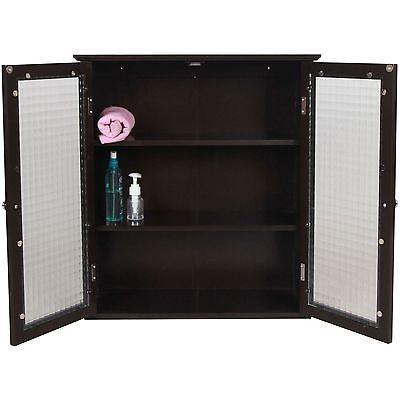 Espresso Furniture Bathroom Wall Cabinet Storage Shelves Medicine Glass Doors Medicine Cabinets