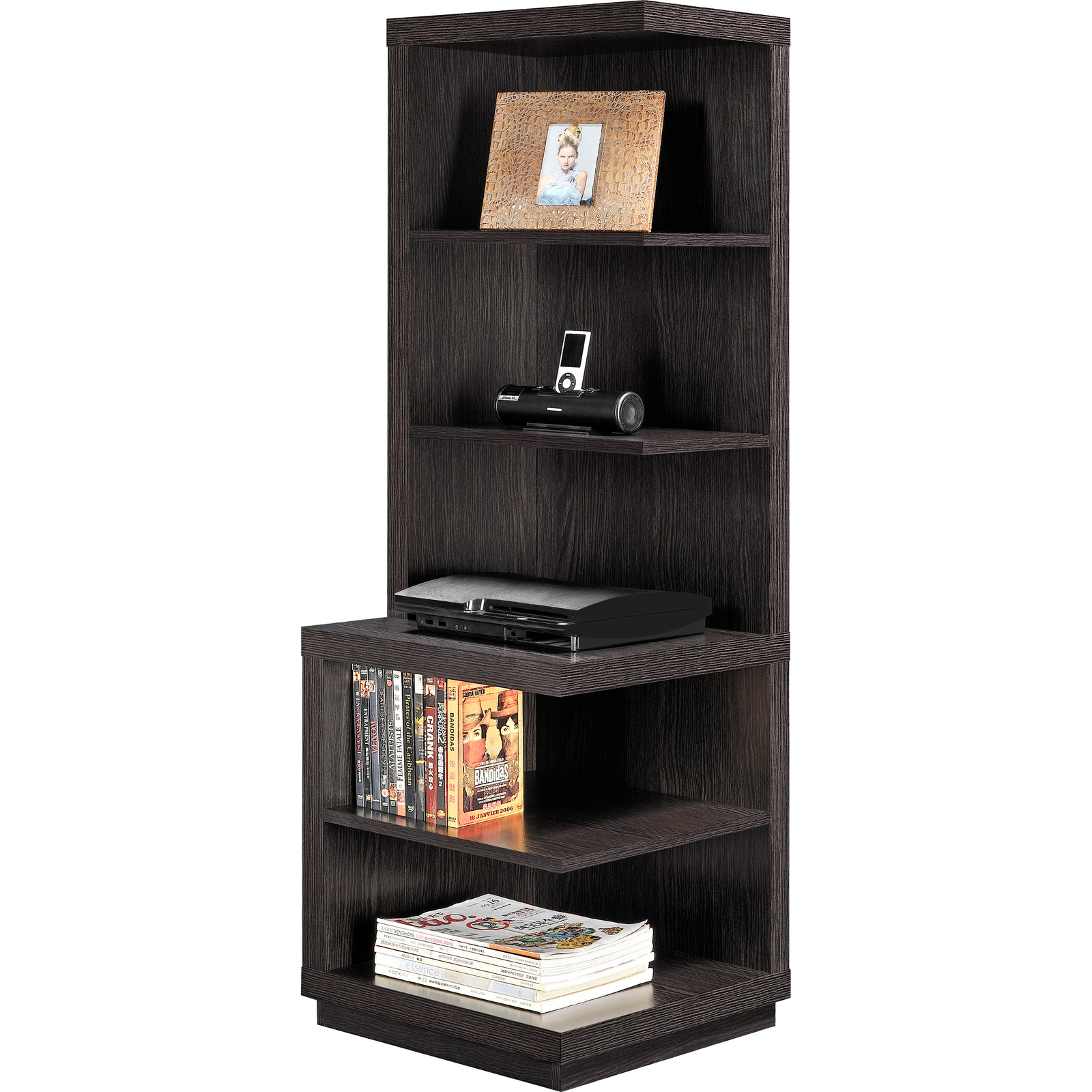 Corner shelf bookcase brown wood 5 shelves book storage for Room furniture organizer