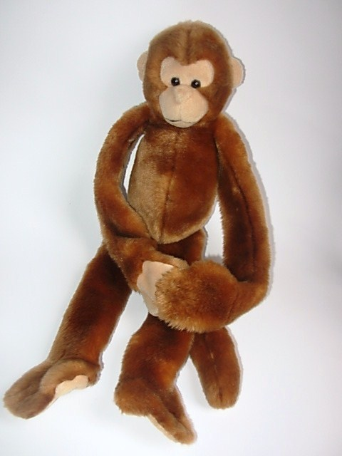 Its All Greek To Me Hanging Plush Monkey Stuffed Animal Brown Tan Toy