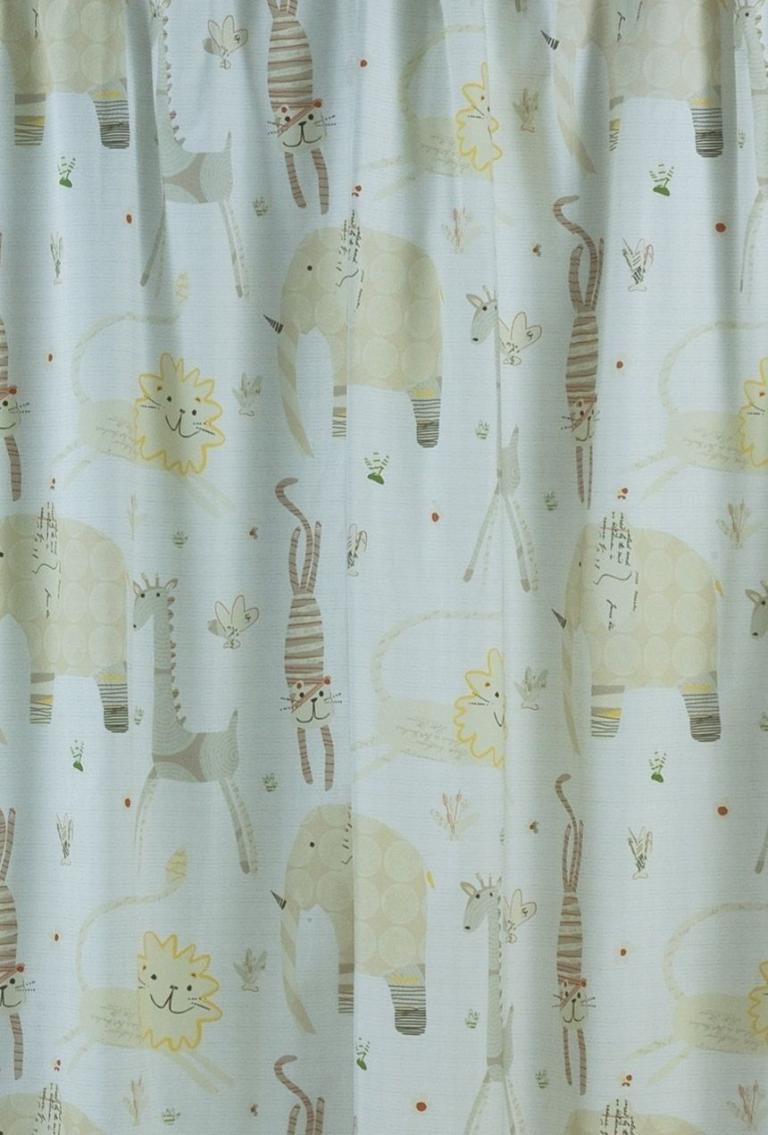 Animal crackers kids fabric shower curtain elephant for Kids curtain fabric