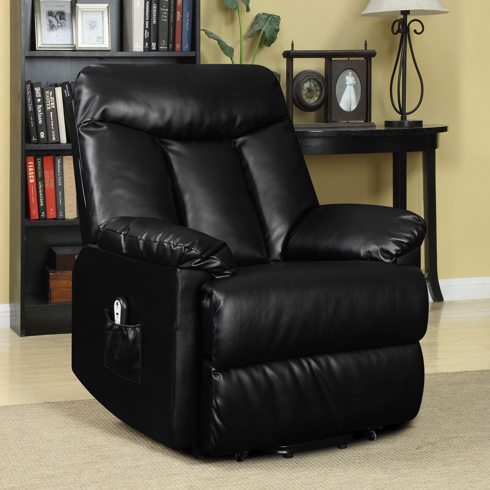 electric lift chair recliner black leather power motion lounge seat