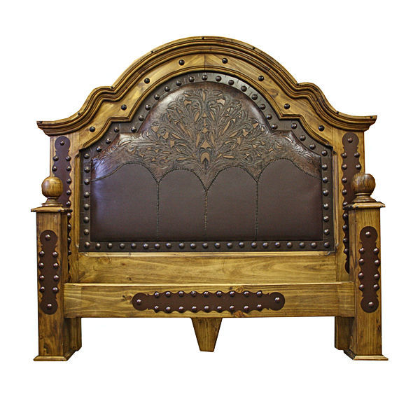 Grand Tooled Leather Bedroom Set With Iron Accents Real