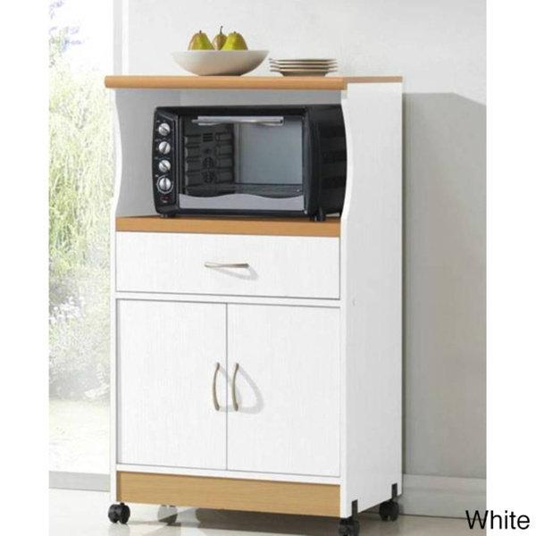 Kitchen Portable Rolling Storage Cabinet Shelf Drawer White Kitchen