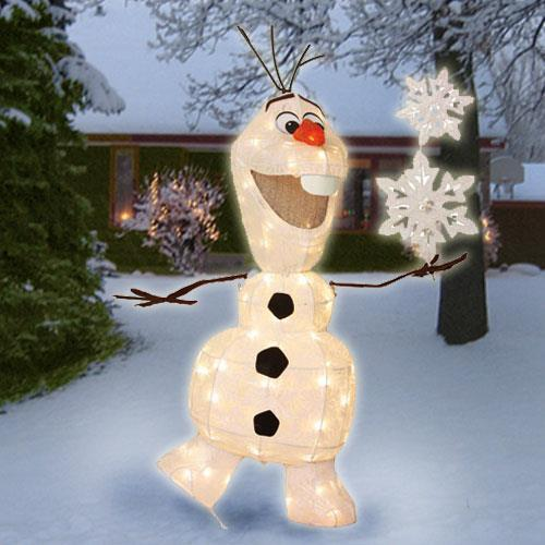 36 lighted pre lit disney frozen olaf sculpture outdoor for Outdoor lighted christmas ornaments