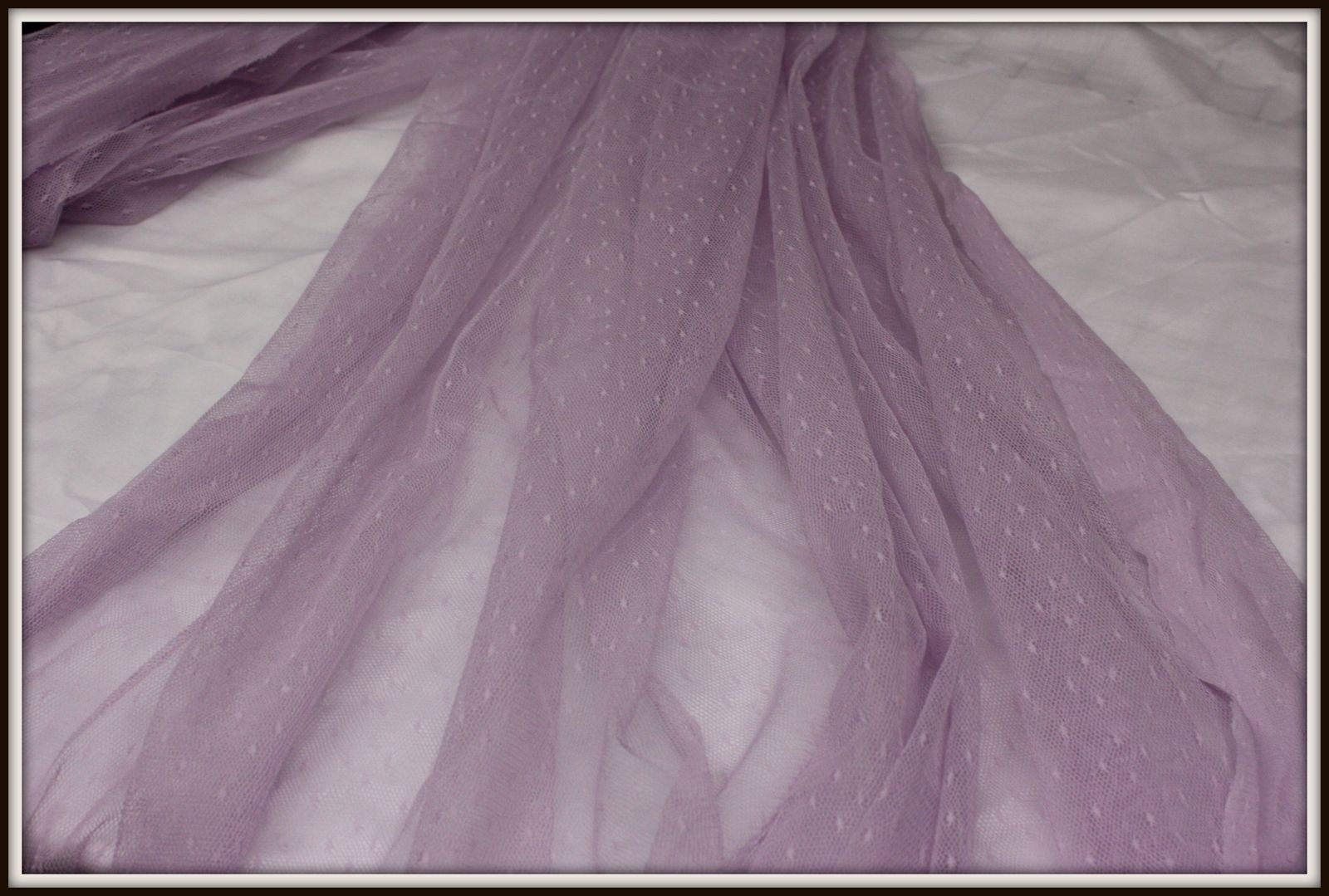 VICTORIAN LAVENDER DE LIS FINE NET LACE FABRIC,IMPORTED FROM FRANCE