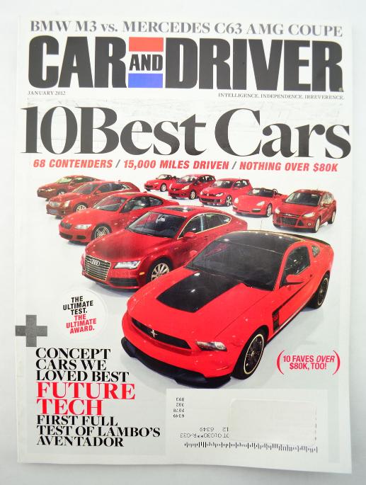 car and driver magazine january 2012 10 best cars bmw m3 vs mercedes c63 amg magazine back. Black Bedroom Furniture Sets. Home Design Ideas