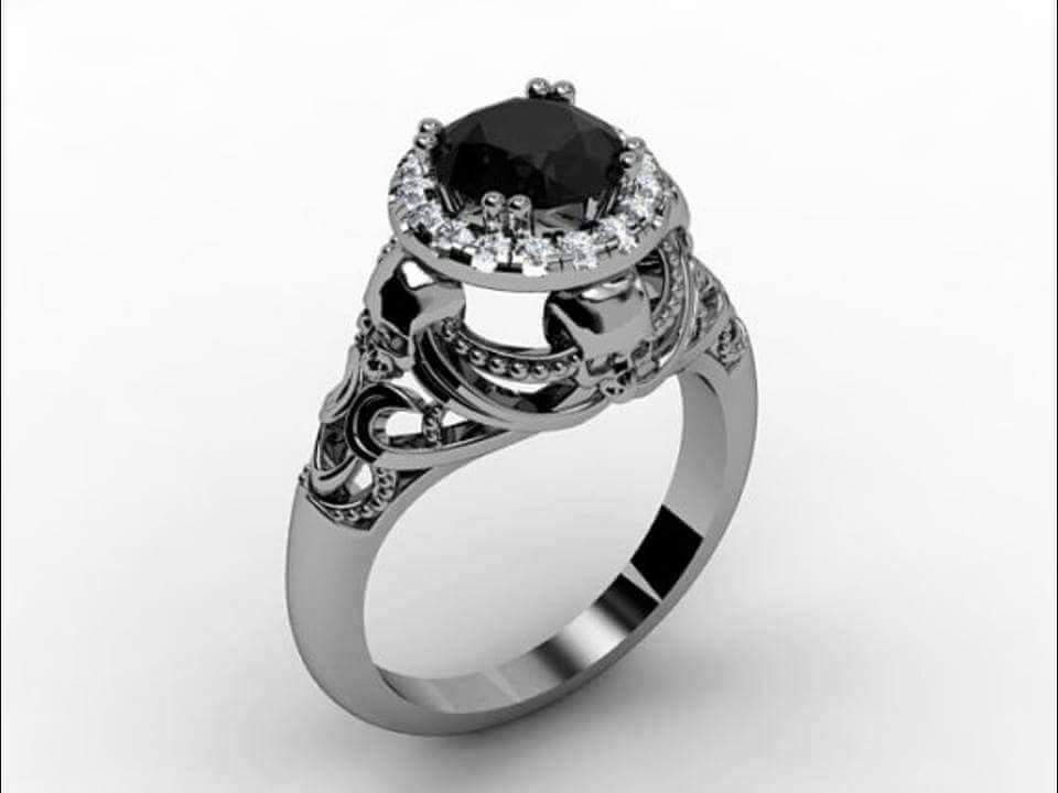 Skull Engagement Ring 14 KT Black Diamond and 27 similar items