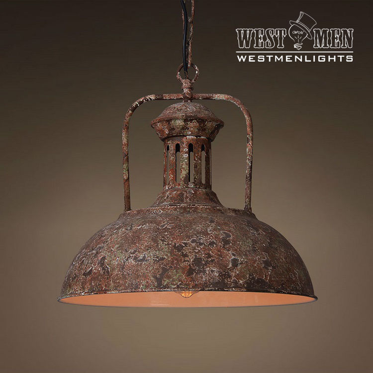 Just Reduced Rustic Handmade 3 Bulb Hanging Light Fixture Or: Industrial Rustic Metal Dome Shade Pendant Light Hanging