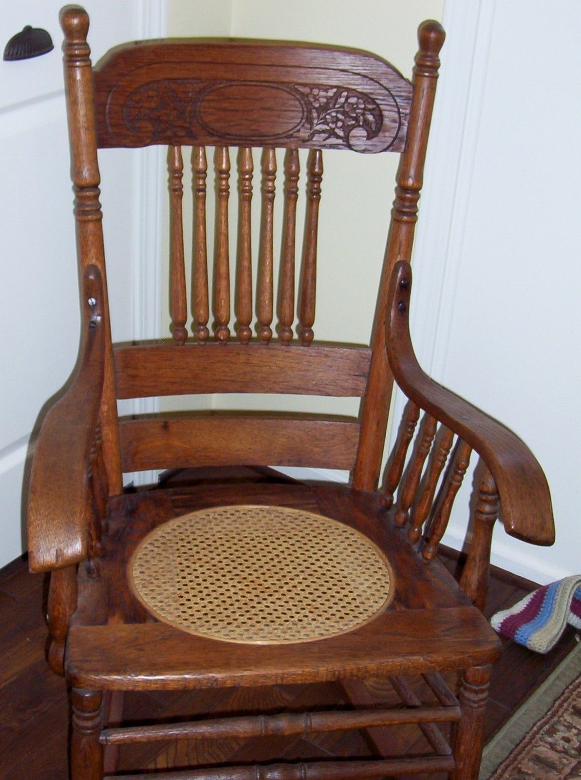 Antique Rocking Chair Oak Press Back W/ Spindles Cane Seat Pick UP . Full resolution  image, nominally Width 1193 Height 1600 pixels, image with #6C3E2B.