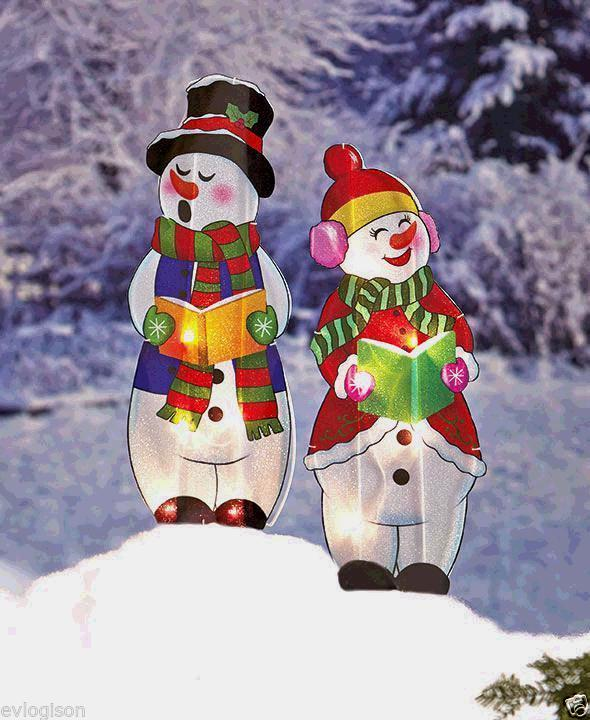 Christmas Carolers Wood Outdoor Yard Art By Chartinisyardart: Lighted Holographic Two Snowman Carolers Christmas Outdoor