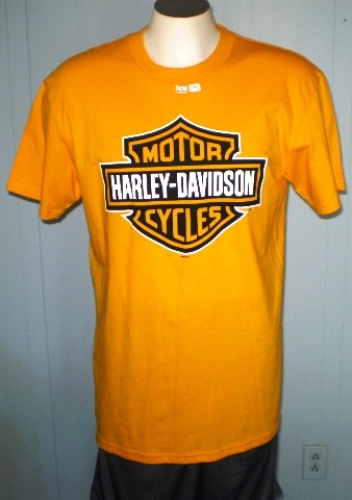 Harley Davidson Yellow T Shirt Large Augusta Georgia T
