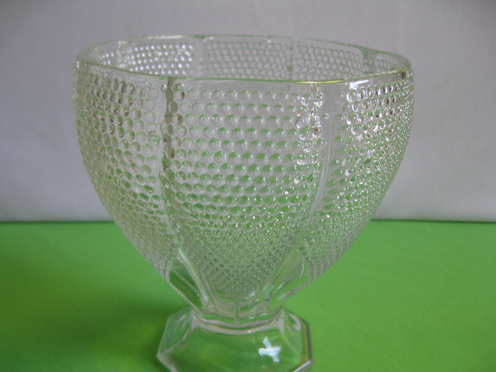 L E Smith Glass Crystal Dewpoint Bowl Pillow Footed Vase Made in USA Vintage