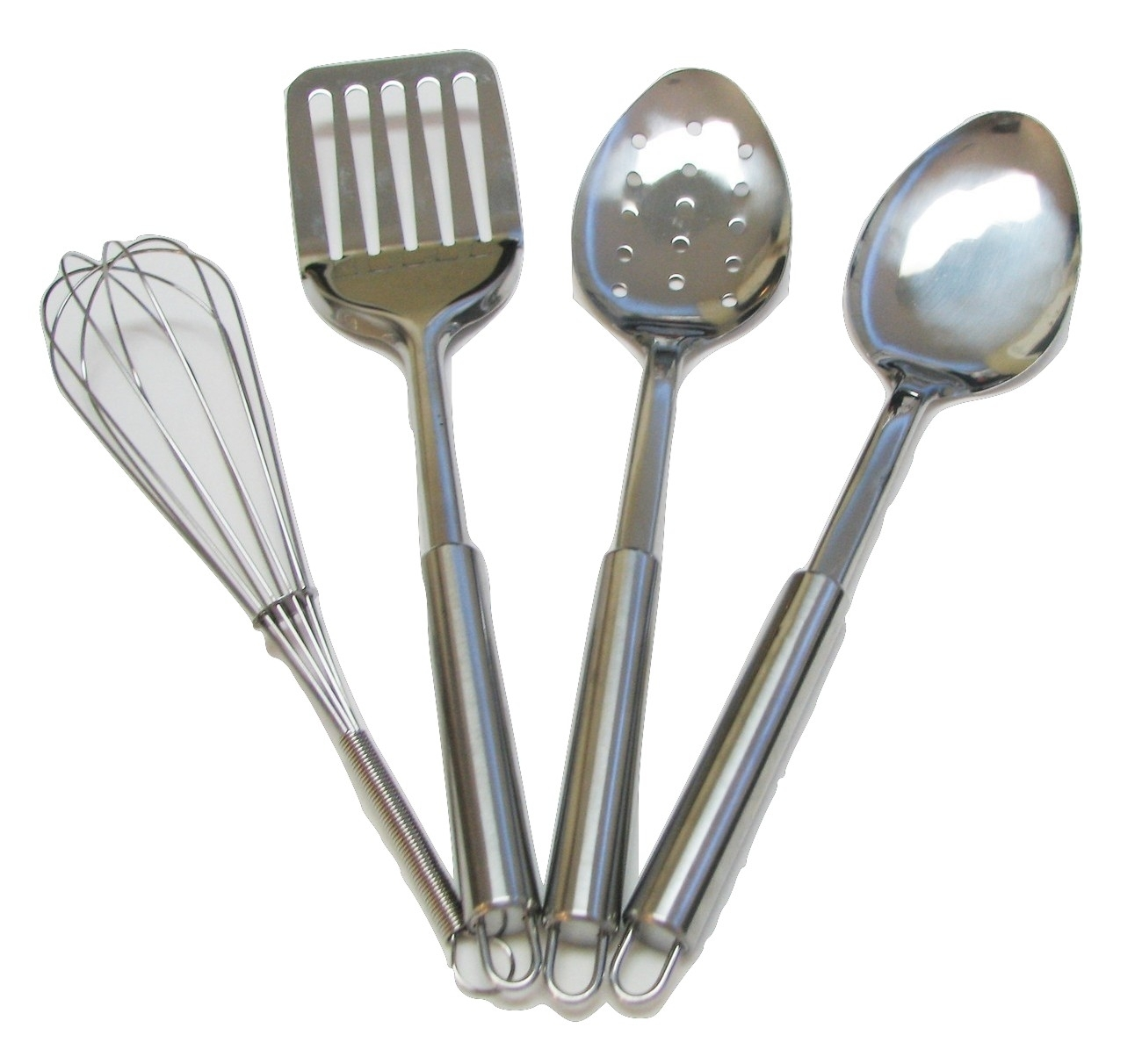 4 piece stainless steel kitchen utensil set cooking utensils for Kitchen set stainless