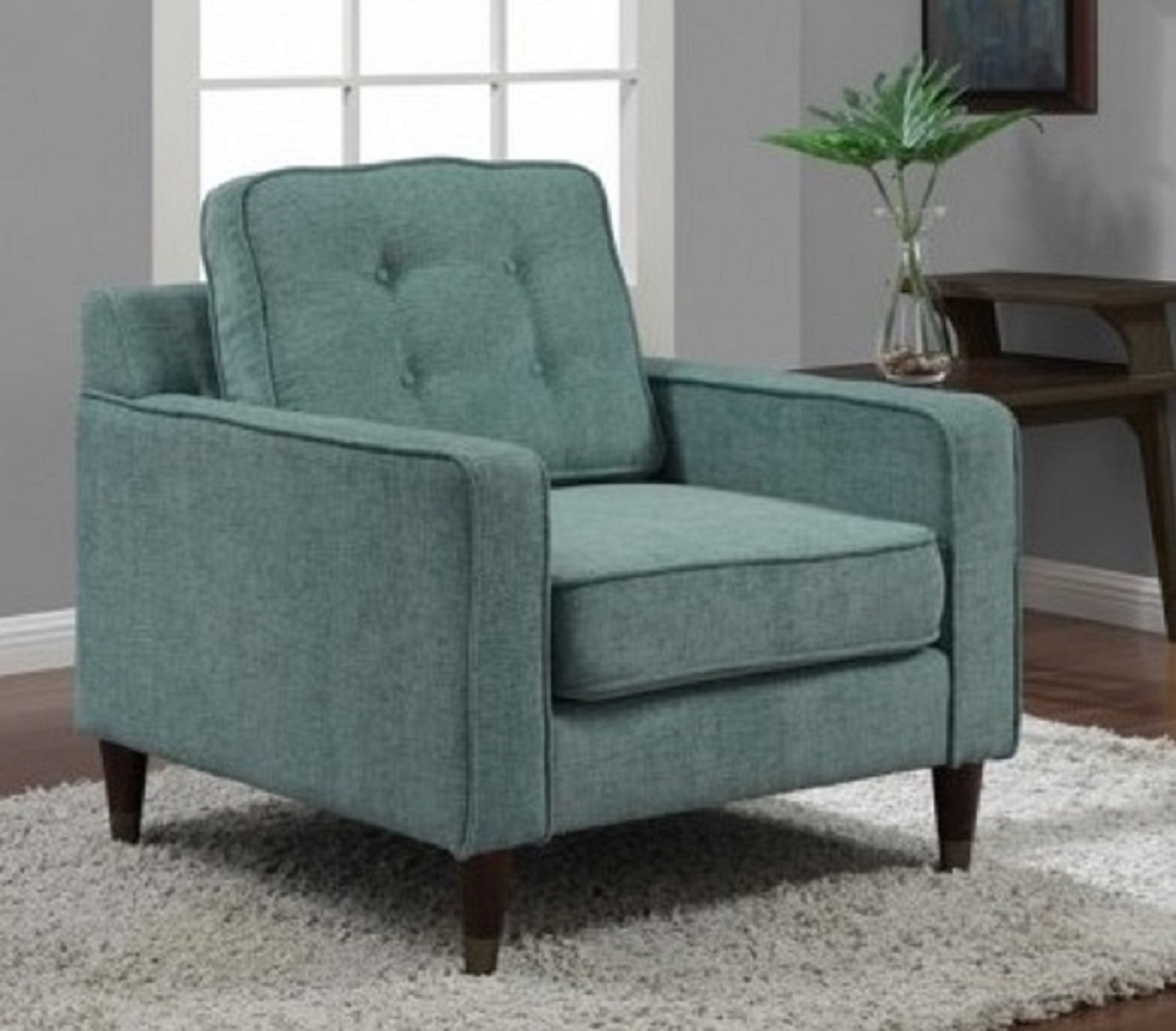accent armchair retro living room furniture tufted cushion aqua chair