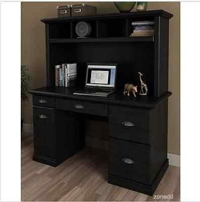 sold black desk with hutch computer workstation office furniture home