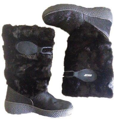 OSCAR SPORT Fur Winter Ski Italy Boots Authentic Sz 37 US