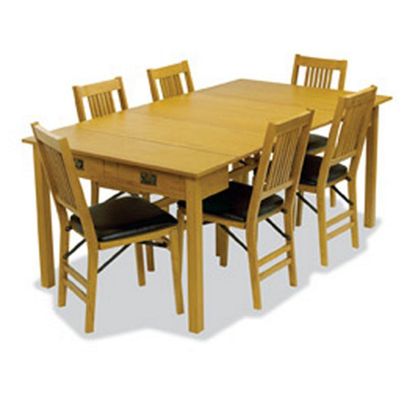 Table Expandable Mission Style Oak Finish 3 1 Dining
