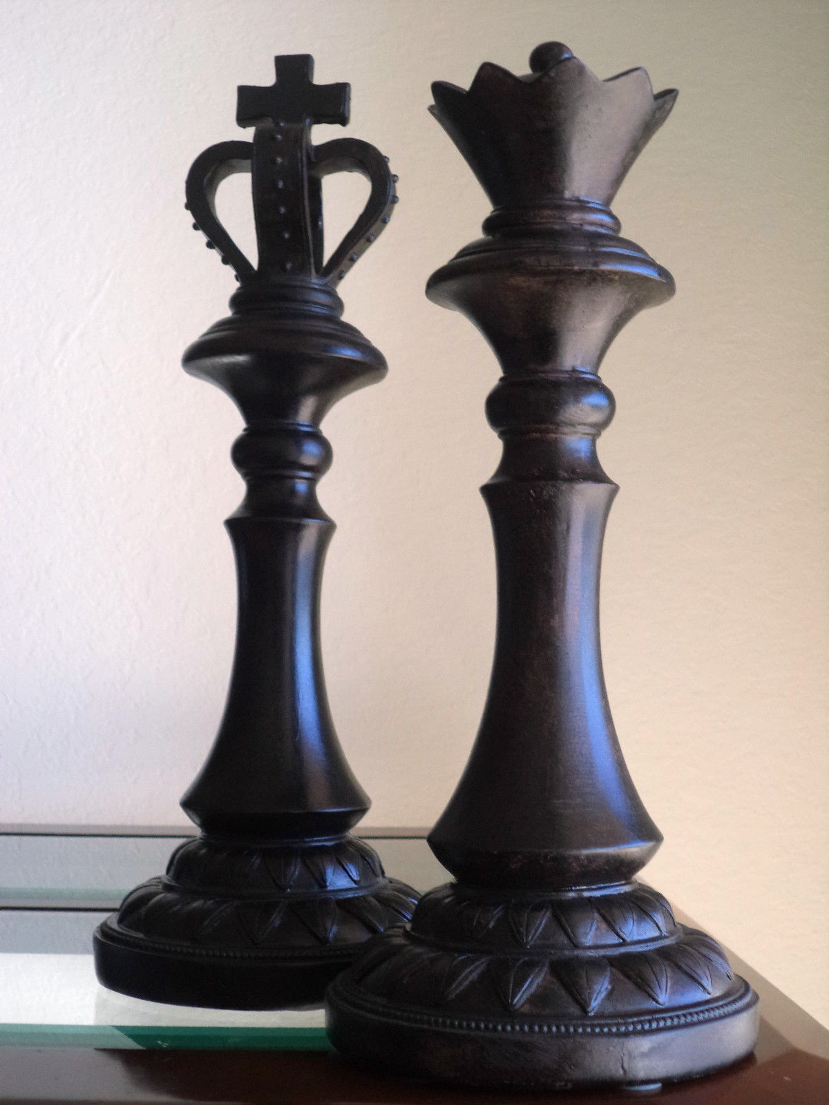 Large chess pieces king queen distressed modern home for Modern decorative pieces