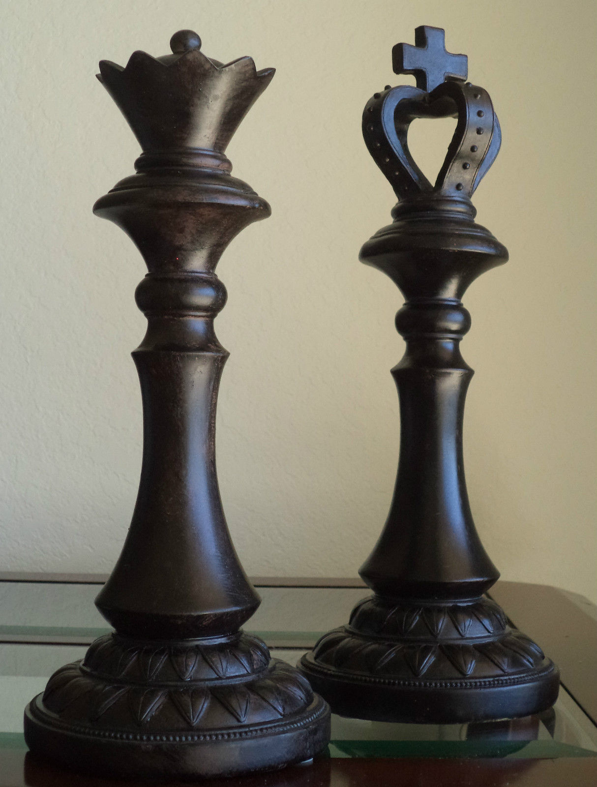 Large CHESS Pieces King Queen Distressed Modern Home ...