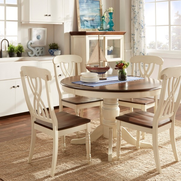 5 Piece Country Antique White Dining Set Home 1 Table 4 Chairs Living Furnitu