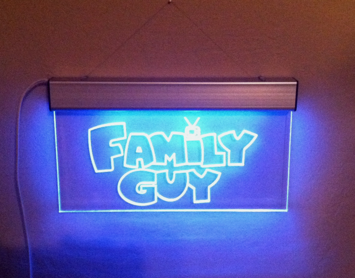 Man Cave Illuminated Signs : Family guy lighted glass sign electric great for a man