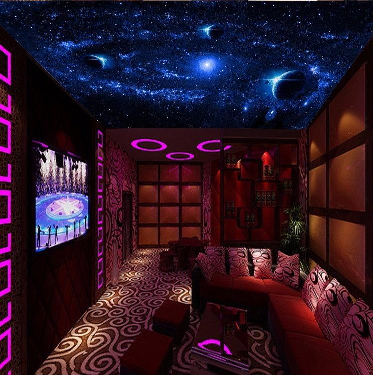 Hot evening sky stars design ceiling wallpaper mural wall for Universe wallpaper for bedroom