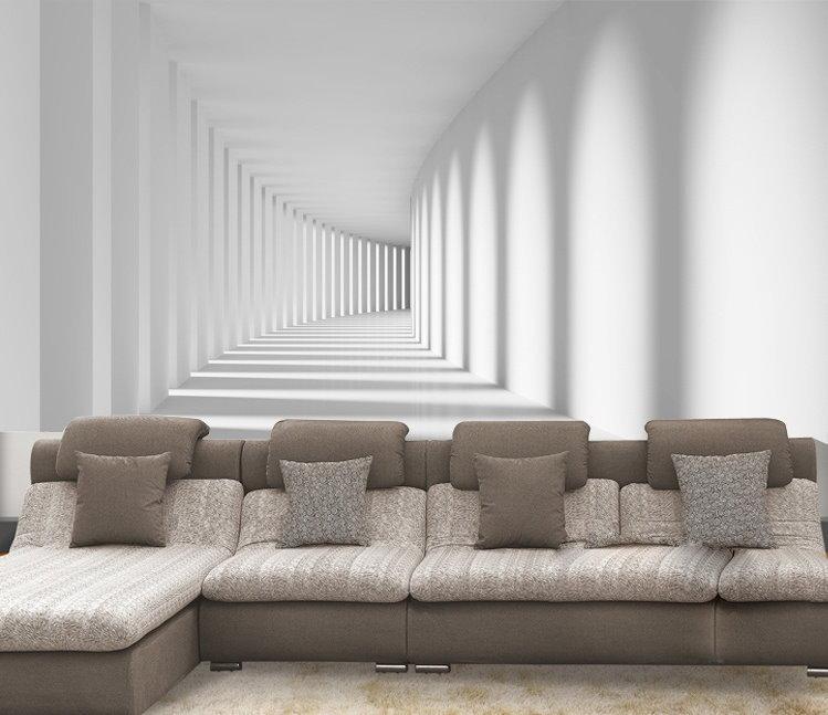 Hot 3d pure white illusion theme wallpaper mural wall art - Illusion wallpaper for walls ...