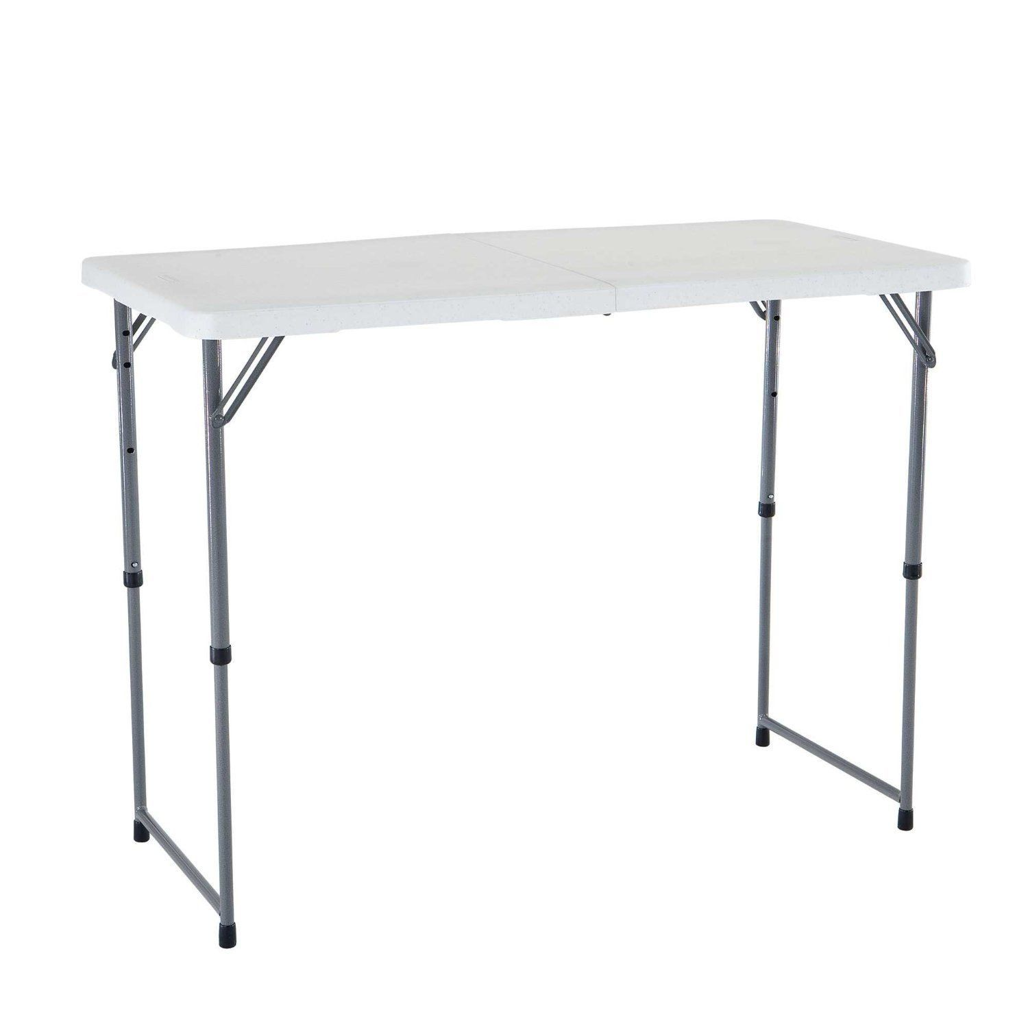 4 ft adjustable height folding utility table portable with - Camping table adjustable height ...