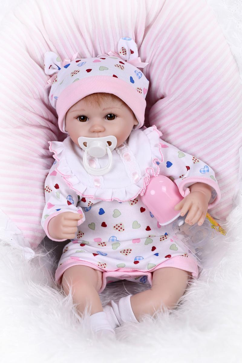"17"" Lifelike Reborn Baby Doll with Clothes Silicone Fake"